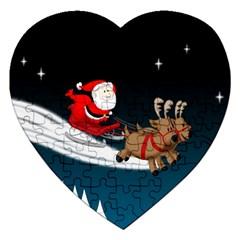 Christmas Reindeer Santa Claus Snow Star Blue Sky Jigsaw Puzzle (heart) by Alisyart