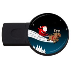 Christmas Reindeer Santa Claus Snow Star Blue Sky Usb Flash Drive Round (4 Gb) by Alisyart