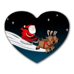 Christmas Reindeer Santa Claus Snow Star Blue Sky Heart Mousepads by Alisyart