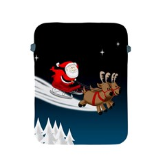 Christmas Reindeer Santa Claus Snow Star Blue Sky Apple Ipad 2/3/4 Protective Soft Cases by Alisyart