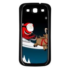 Christmas Reindeer Santa Claus Snow Star Blue Sky Samsung Galaxy S3 Back Case (black) by Alisyart