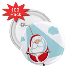Christmas Santa Claus Paragliding 2 25  Buttons (100 Pack)  by Alisyart