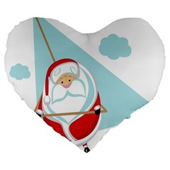 Christmas Santa Claus Paragliding Large 19  Premium Heart Shape Cushions by Alisyart