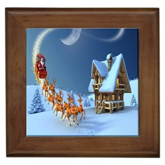 Christmas Reindeer Santa Claus Wooden Snow Framed Tiles by Alisyart