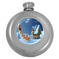 Christmas Reindeer Santa Claus Wooden Snow Round Hip Flask (5 Oz) by Alisyart