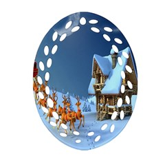 Christmas Reindeer Santa Claus Wooden Snow Oval Filigree Ornament (two Sides) by Alisyart