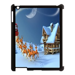 Christmas Reindeer Santa Claus Wooden Snow Apple Ipad 3/4 Case (black) by Alisyart