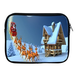 Christmas Reindeer Santa Claus Wooden Snow Apple Ipad 2/3/4 Zipper Cases by Alisyart