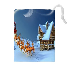 Christmas Reindeer Santa Claus Wooden Snow Drawstring Pouches (extra Large) by Alisyart