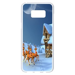 Christmas Reindeer Santa Claus Wooden Snow Samsung Galaxy S8 Plus White Seamless Case by Alisyart