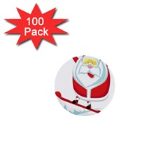 Christmas Santa Claus Playing Sky Snow 1  Mini Buttons (100 Pack)  by Alisyart