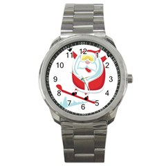 Christmas Santa Claus Playing Sky Snow Sport Metal Watch by Alisyart