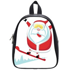 Christmas Santa Claus Playing Sky Snow School Bag (small) by Alisyart