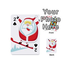 Christmas Santa Claus Playing Sky Snow Playing Cards 54 (mini)  by Alisyart