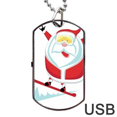 Christmas Santa Claus Playing Sky Snow Dog Tag Usb Flash (one Side) by Alisyart