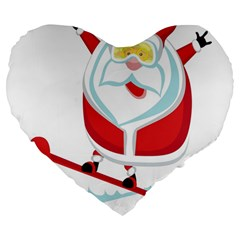 Christmas Santa Claus Playing Sky Snow Large 19  Premium Heart Shape Cushions by Alisyart
