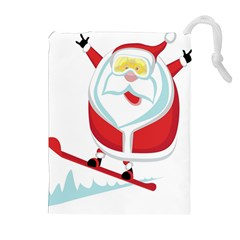 Christmas Santa Claus Playing Sky Snow Drawstring Pouches (extra Large) by Alisyart