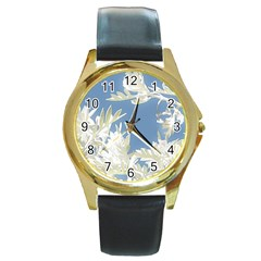 Nature Pattern Round Gold Metal Watch by dflcprintsclothing