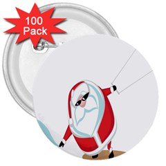 Christmas Santa Claus Snow Cool Sky 3  Buttons (100 Pack)  by Alisyart