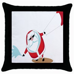 Christmas Santa Claus Snow Cool Sky Throw Pillow Case (black) by Alisyart