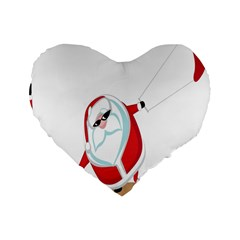 Christmas Santa Claus Snow Cool Sky Standard 16  Premium Flano Heart Shape Cushions by Alisyart