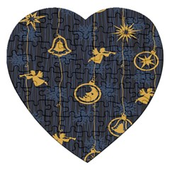 Christmas Angelsstar Yellow Blue Cool Jigsaw Puzzle (heart) by Alisyart