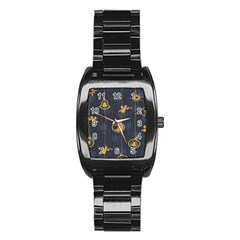 Christmas Angelsstar Yellow Blue Cool Stainless Steel Barrel Watch by Alisyart