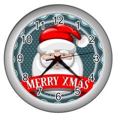 Christmas Santa Claus Xmas Wall Clocks (silver)  by Alisyart