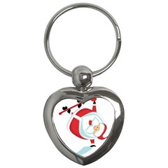 Christmas Santa Claus Snow Sky Playing Key Chains (heart)  by Alisyart