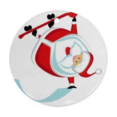 Christmas Santa Claus Snow Sky Playing Round Ornament (two Sides) by Alisyart