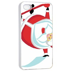 Christmas Santa Claus Snow Sky Playing Apple Iphone 4/4s Seamless Case (white) by Alisyart