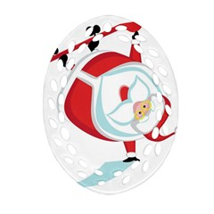 Christmas Santa Claus Snow Sky Playing Ornament (oval Filigree) by Alisyart