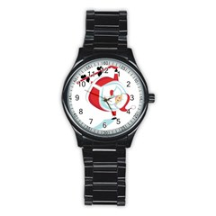 Christmas Santa Claus Snow Sky Playing Stainless Steel Round Watch