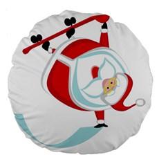 Christmas Santa Claus Snow Sky Playing Large 18  Premium Flano Round Cushions by Alisyart