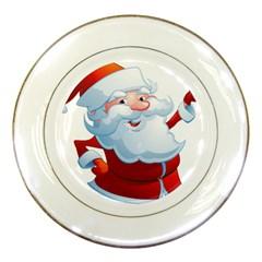 Christmas Santa Claus Snow Red White Porcelain Plates by Alisyart