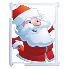 Christmas Santa Claus Snow Red White Apple Ipad 2 Case (white) by Alisyart