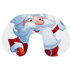 Christmas Santa Claus Snow Red White Travel Neck Pillows by Alisyart