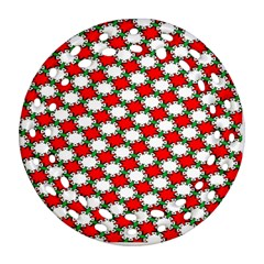 Christmas Star Red Green Ornament (round Filigree) by Alisyart