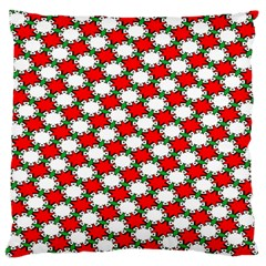 Christmas Star Red Green Large Flano Cushion Case (one Side) by Alisyart