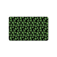 Christmas Pattern Gif Star Tree Happy Green Magnet (name Card) by Alisyart