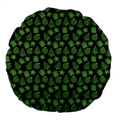 Christmas Pattern Gif Star Tree Happy Green Large 18  Premium Round Cushions by Alisyart