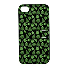 Christmas Pattern Gif Star Tree Happy Green Apple Iphone 4/4s Hardshell Case With Stand by Alisyart