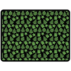 Christmas Pattern Gif Star Tree Happy Green Double Sided Fleece Blanket (large)  by Alisyart