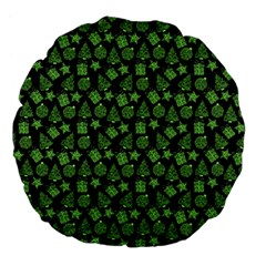 Christmas Pattern Gif Star Tree Happy Green Large 18  Premium Flano Round Cushions by Alisyart