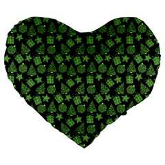 Christmas Pattern Gif Star Tree Happy Green Large 19  Premium Flano Heart Shape Cushions by Alisyart