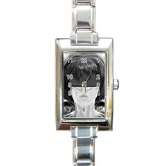 Beautiful Bnw Fractal Feathers For Major Motoko Rectangle Italian Charm Watch by beautifulfractals