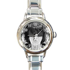 Beautiful Bnw Fractal Feathers For Major Motoko Round Italian Charm Watch by jayaprime