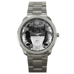 Beautiful Bnw Fractal Feathers For Major Motoko Sport Metal Watch by jayaprime