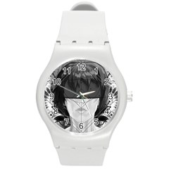 Beautiful Bnw Fractal Feathers For Major Motoko Round Plastic Sport Watch (m) by jayaprime