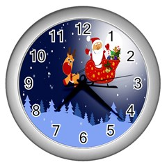 Deer Santa Claus Flying Trees Moon Night Merry Christmas Wall Clocks (silver)  by Alisyart
